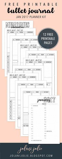 Free Printable: Bullet Journal January 2017 Kit - Jolani Jolie