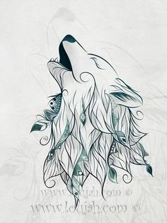 Wolf Art Print by LouJah – Art Sketches Wolf Tattoos, Cute Tattoos, Body Art Tattoos, Animal Drawings, Art Drawings, Drawings Of Wolves, Cool Wolf Drawings, Pinguin Tattoo, Wolf Canvas