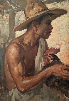 Fernando Amorsolo - Man with Rooster Filipino Art, Philippine Art, Vintage Illustration Art, Indonesian Art, Chicken Art, Renaissance Paintings, Anatomy Art, Gay Art, Bird Art