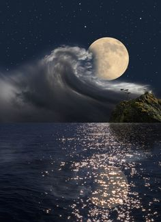 ☽◯☾ ᙢᗢᗢᘉ ↁᗩᘉᑕᗴ ~ The sea talking with the MOON......... WATER SO BEAUTIFUL** jerry g