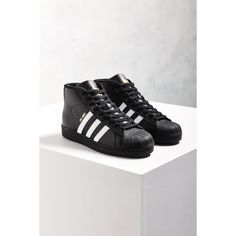 online store 4cdae 27da2 adidas Originals Black Pro Model Sneaker ( 90) ❤ liked on Polyvore  featuring shoes, sneakers, adidas sneakers, adidas shoes, black leather  shoes, ...