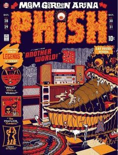 October Third of three LE posters for Phish's Las Vegas Halloween run - by Your Cinema. Edition of Phish Posters, Tour Posters, Band Posters, Concert Posters, Music Posters, Halloween Run, Mgm Las Vegas, Mgm Grand Garden Arena, Illustrations Posters