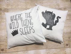Nursery Bedding Set ~ Custom 20x20 Wild Thing pillow covers ~ baby boy bedding ~ Where the Wild things Are ~ Crown pillow ~ boy room decor