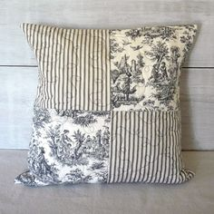 Black and Ivory -  Black Toile - Black Ticking - Quilted Pillow Cover - French - Cottage - Farmhouse by greenwillowpond on Etsy https://www.etsy.com/listing/231158597/black-and-ivory-black-toile-black