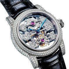 Tourbillon with 3 gold bridges skeletton and diamond set #wotd #watches…