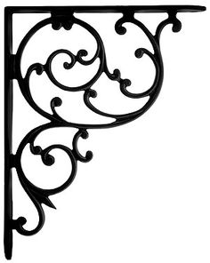 "Cast Iron Swirl Shelf Bracket In Matte Black - 10 1/8"" x 8"" | House of Antique Hardware"