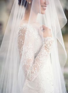 Mira Zwillinger long sleeve wedding dress. Photography: Jose Villa Photography - josevillaphoto.com