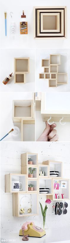 Não é caixote não, é nicho mesmo. Pedacinhos de madeira pregados que ganham o mundo da decor há tempos e haja praticidade. Ô! Eu sou adepta há anos luz dos nichos como estantes. São pequenos, cabem…