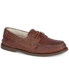 Sperry Men's A/O 2-Eye Faux-Fur Lined Boat Shoes - Tan/Beige 11.5
