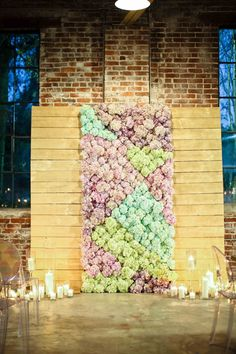 floral ceremony backdrop - photo by Love Ya Jess http://ruffledblog.com/stained-glass-inspiration-with-a-real-surprise-wedding
