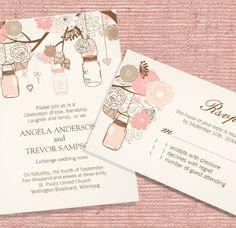 Coral and Cream mason jar wedding invitations designed by Colourful Designs Inc.