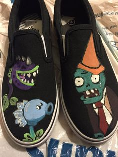 Plants Vs Zombies Hand Painted Kids Size 4 by SweetMickeyMerch