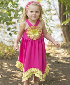 Take+a+look+at+the+Fuchsia+&+Lime+Green+Rosette+Dress+-+Toddler+&+Girls+on+#zulily+today!