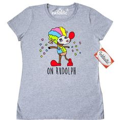 Inktastic On Rudolph Women's T-Shirt Clown Reindeer Red Nose Santa Christmas Holiday Confetti Funny Xmas Lol Humor Crude Clothing Apparel Tees Adult, Size: Large, Grey