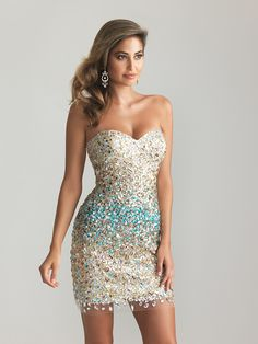 Gold Beaded & Sequin Fringe Strapless Fitted Homecoming Dress ...