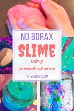Slip N' Slime: No Borax Slime Recipe – ARTY MOMMY Create kid-friendly borax free slime with this step-by-step tutorial using contact solution. Summer slime activity for kids.