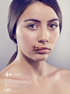 social campaign This is by Lebanese organization KAFA, turning the idea of verbal abuse into physical to raise awareness. Social Campaign, Advertising Campaign, Social Advertising, Guerrilla Marketing, Media Campaign, Street Marketing, Marketing Ideas, Womens Rights Posters, Words Hurt