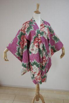 Kimono Dress Japan Vintage haori coat robe Geisha costume used silk KDJM-H0155