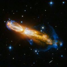 The Calabash Nebula, pictured here — which has the technical name OH 231.8+04.2 — is a spectacular example of the death of a low-mass star like the sun. This image taken by the NASA/ESA Hubble Space Telescope shows the star going through a rapid transformation from a red giant to a planetary nebula, during which it blows its outer layers of gas and dust out into the surrounding space. The recently ejected material is spat out in opposite directions with immense speed — the gas shown in…