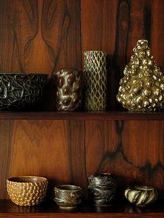AXEL SALTO, Stoneware ceramics by Salto, c.1940s. Manufactured by Royal Copenhagen, Denmark. / Hokuoki