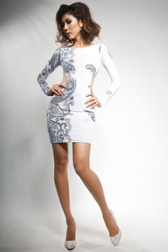 Savee Couture Black And White Dress