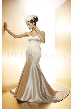 Breathtaking Court Train Buttons Satin Sweetheart Wedding Dresses - by OKDress UK