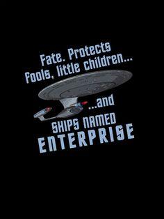 """Fate protects fools, little children, and ships named Enterprise"" - Riker Star Wars, Star Trek Tos, Star Trek Quotes, Star Trek Posters, Star Trek Series, Ship Names, Starship Enterprise, Star Trek Universe, Love Stars"
