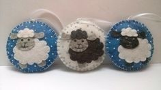 Felt Christmas Sheep ornament - White or Black Sheep, Blue or White background…
