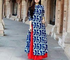 Indigo/White Kurta (Anarkali/Straight) with Red Palazzo Kurti Patterns, Dress Patterns, Kurta Designs, Blouse Designs, Mehndi, Henna, Indian Dresses, Indian Outfits, Girl Fashion
