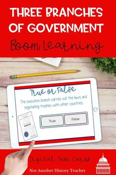 This is an amazing set of Boom cards with interactive elements such as details about the three branches, right and wrong Boom questions, and links to video clips about each branch of government. There are 31 slides in the whole deck. Your students will love this set!