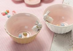 Beautiful-An idea for your. If you have any of your kids bunnies lying around just attach to your plates and bowls at easter.