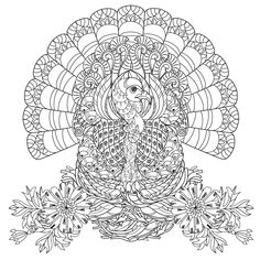 Beautiful Turkey very well decorated, with flowers ...The perfect coloring page…