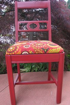 The Raven antique chair in red with bird by VictorianRehabDesign, $95.00