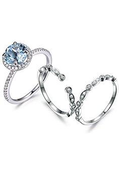 Aquamarine Wedding Ring Set Eternity Ring Art Deco Ring Milgrain Diamond Wedding Band Open Matching Band