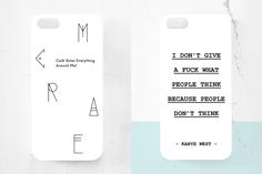 New giveaway! Two cases, the first one with lyrics by Wu tang clan on and the second by Kanye West. All you have to do is to like this post and comment me bellow which one you prefer the most or vi… Kanye West Quotes, Wu Tang Clan, Iphone Cases, Typography, Amazing Things, Giveaways, Lyrics, Wallpapers, Etsy