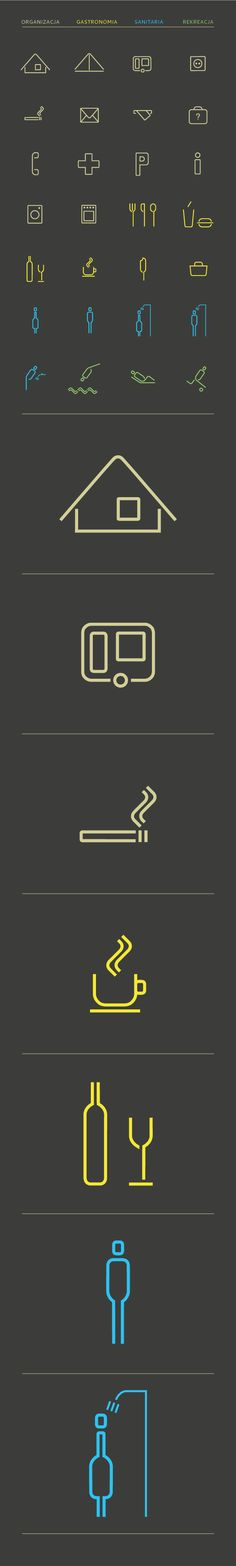 Kemping by K. Kwiatkowska, via Behance. #icons