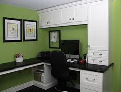 Small Office Design, love the green color