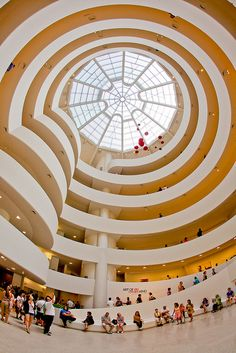 Guggenheim Museum, NYC  This museum near Central Park is home to an important collection of modern art. The collection is housed in a unique building designed by the renowned American architect Frank Lloyd Wright.