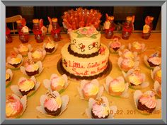 Baby shower cake and cup cakes,