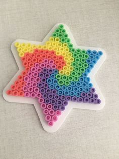 "Hama beads ""star"" – Famous Last Words Quilting – Pink Unicorn Easy Perler Bead Patterns, Melty Bead Patterns, Perler Bead Templates, Diy Perler Beads, Perler Bead Art, Hama Beads Coasters, Bead Embroidery Tutorial, Bead Embroidery Patterns, Beaded Embroidery"