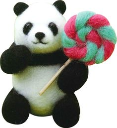 Needle Felting Kit Panda Wool Felt By Sunfelt by JapanPop on Etsy