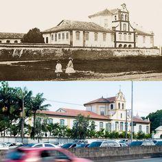 Foto comparativa: Convento da Luz em 1875 (foto de Militão Augusto de Azevedo) e em 2014 (Foto de Flavio Moraes).