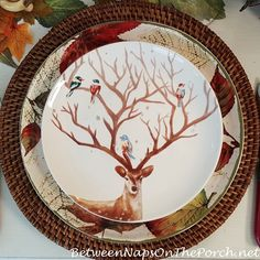 Deer with Birds in Antlers Plate and a beautiful autumn tablescape with woodland friends from Between Naps on the Porch.