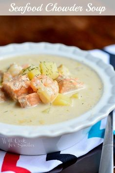 Seafood Chowder Soup |  from willcookforsmiles.com #seafood #soup #chowder