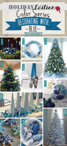 Holiday Color Series; Decorating with Blue. Blue holiday home decor | A Shade Of Teal