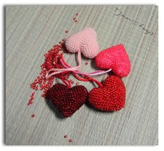 Crochet Heart with beads 1 pcs 4 colors Valentine's Day от Tjan