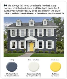 Color scheme for the front of the house (i.e. navy blue for the shutters, to go with the front door and trim, which are yellow and white, and the blue won't clash with the red brick).
