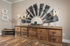 Fixer Upper Hgtv, Joanna Gaines, Large Rustic Wall Decor, Rustic Walls, Rustic Wood, Rustic Feel, Rustic Decor, Windmill Decor, Diy Home Decor