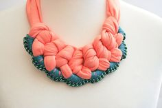 collier bib apricot turquoise green chain crochet by gudbling