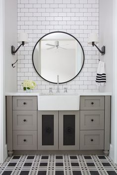 sophisticated and elegant bathroom vanity designed by Arizona-based interior designer Jaimee Rose.  I love that pattern on the floor.